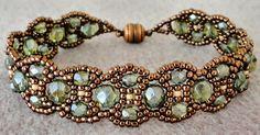 "CANTERBURY 11/0 seed beads Matsuno ""Copper"" (11-457A) 11/0 seed beads Miyuki ""Lt. Caramel Ceylon"" (11-593) 4mm fire polished beads ..."