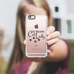 SELF-PROCLAIMED CAT LADY - BLACK Kitty Cats Kitten Crazy Cat Lady Animals Pets Chic Minimalist Pawprints Meow Purr Modern Typography Transparent Font Quote Whimsical Funny Design - New Standard Case