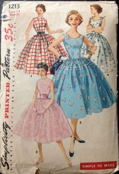Party dress blue pink white red full skirt day summer sundress cocktail floral checks Simplicity 1213 Rockabilly DRESS Pattern Full Skirt Scoop Neck Simple to Sew womens vintage sewing pattern by mbchills 1950s Style, Style Année 60, Goth Style, Vintage Dress Patterns, Dress Sewing Patterns, Clothing Patterns, Pattern Dress, Princess Dress Patterns, Neck Pattern