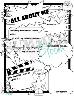 Superhero Themed All About Me Pages from SummerBloom! Perfect for the First Day of School! Boy & Girl Pages