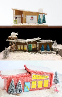 Mid-Century Modern Gingerbread Houses - House One Cool Gingerbread Houses, Christmas Gingerbread House, Christmas Houses, Christmas Foods, Christmas Villages, All Things Christmas, Christmas Holidays, Christmas Ideas, Christmas Gifts