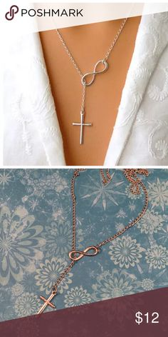 Cross and Infinity Symbol Silver Slider Necklace All jewelry is in stock and photos are of the actual item shipped.     Unless otherwise described all items are new and never worn.   *Shipping is quick and everything is carefully packaged.   *Discounts are available for multiple item purchases.  *Offers and questions are welcome.     Thanks for viewing my listings!  Melissa Jewelry Necklaces