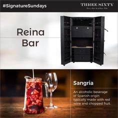 What's better on a lazy Sunday than to sip on some lip-smacking, fruity Sangria with your favourite set of friends? Our mammoth Reina Bar can store enough wine bottles and glasses for a larger-than-life brunch party that your guests won't be able to stop raving about! #SignatureSundays #ThreeSixty #LeatherLife