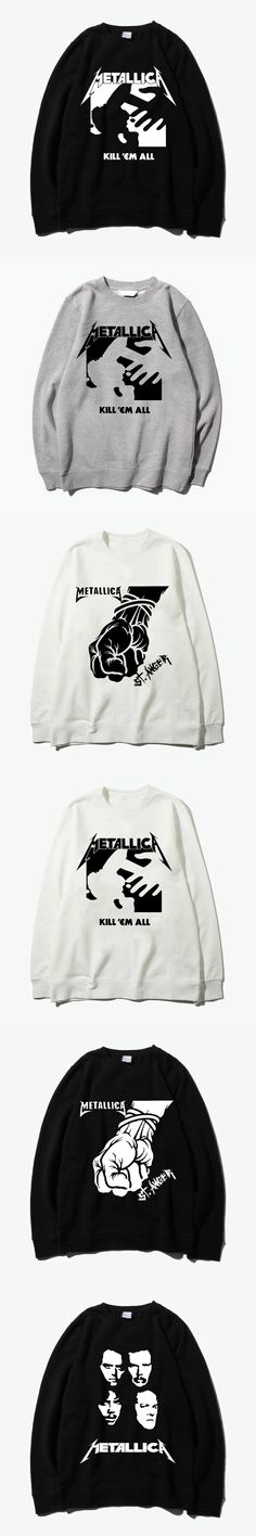 metallica st anger kill'em all silk printing O neck hoodies sweatshirt