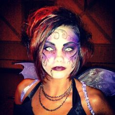 Dark fairy halloween makeup and hair done by me.