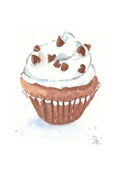 Original Cupcake Watercolor - Chocolate Vanilla, Food Art, 5x7. $15.00, via Etsy.