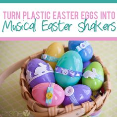 Fun idea for an Easter party at school! Turn Plastic easter Eggs into Musical Shakers! The lovely & talented Bianca Merkley sings a fun egg shaker song to boot!