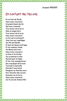 Poetry: leaving the school of Prévert modeling head Core French, French Class, French Lessons, Ap French, French Teaching Resources, Teaching Activities, Teaching French, French Poems, French Quotes
