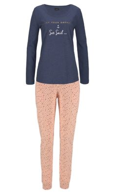 39e6cb7896 Lascana 100% Cotton Long Sleeve Pyjamas - Navy   Apricot - 6 8 10