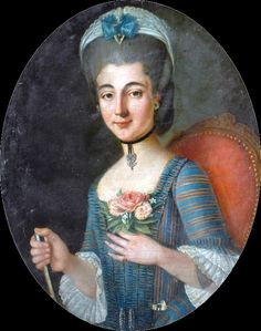Woman with a diamond pendant, circa 1760, French school (Bowes museum)