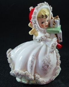Vintage Christmas Collectible ~ Napcoware Little Girl Christmas Shopping w/ Presents * Circa, 1950's