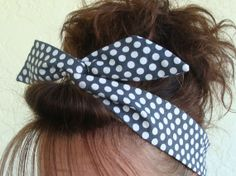 Grey Steel Polka Dots Dolly Bow Wire Headband Teen by Lorettajos, $9.50