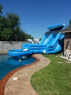 Water slide going into the pool. Epic fun.