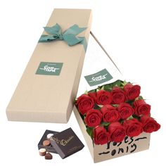 Long Stemmed Roses Gift Box Red 12 - Roses Only Featured Products delivered to Australian Delivery Location, Australia - Roses Only