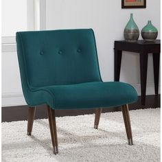 Mid Century Blue Teal Armless Chair - Free Shipping Today - Overstock.com - 16979528 - Mobile
