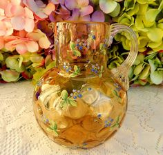 Beautiful Vintage Moser Glass Ball Pitcher ~ Enameled Flowers ~ Gold #Moser