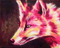 Chaos Reigns Acrylic Fox Painting on Canvas by kristinadutton, via Etsy.