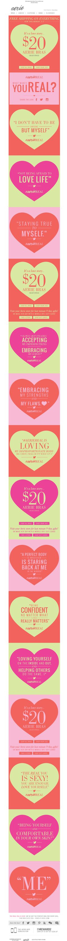 Aerie email Valentine's Day 2014 love email designs email marketing