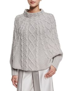 Cable-Knit Long-Sleeve Poncho, Gray by Co at Neiman Marcus.
