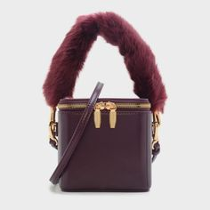 FURRY HANDLE HANDBAG