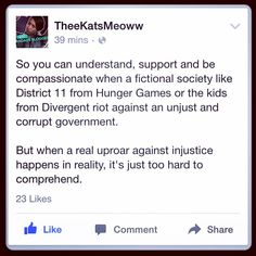 We find it easier to empathize with fictional characters then we do with real live human beings....... #truth via #theekatsmeoww on fb. #flawedandfabulous #flawedandfabulousfeminist #Baltimore #freddiegray #baltimoreishappening #BaltimoreProtests #blacklivesmatter #racism #society #Wakeup #whiteprivilege #WhiteSupremacy #baltimoreuprising