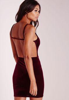 Missguided - Velvet Strappy Open Back Bodycon Dress Burgundy