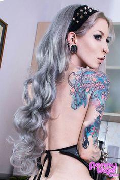 Lady Death Silver Half Wig