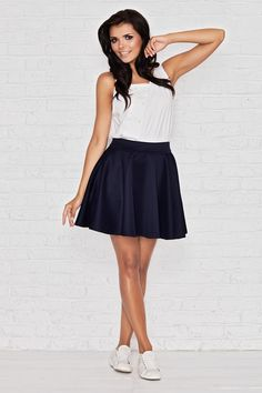 bef18f6026f0 Infinite You Flared High Waist Mini Skirt Navy Blue