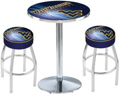 West Virginia Mountaineers D2 Chrome Pub Table Set.  Available in two table widths. Visit SportsFansPlus.com for Details.
