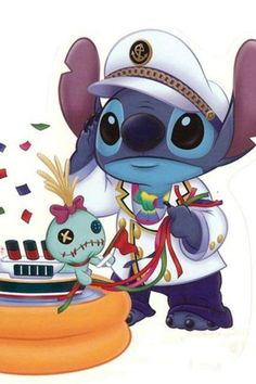 Disney Cruise Line Lilo Stitch, 626 Stitch, Lilo And Stitch Ohana, Cute Stitch, Cute Disney, Baby Disney, Disney Art, Disney Cruise, Disney Drawings
