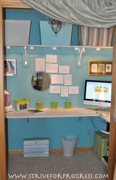 House That Cleans Itself: Home Base Reveal. Making a home closet a workable office space.