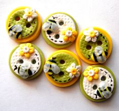 Button Bitsy Bees handmade polymer clay buttons ( 6 ) on Etsy, $8.50