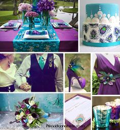Turquoise and purple wedding colors.without the peacock Perfect Wedding, Our Wedding, Dream Wedding, Wedding Stuff, Wedding Pins, Summer Wedding, Wedding Details, Rustic Wedding, Wedding Dress