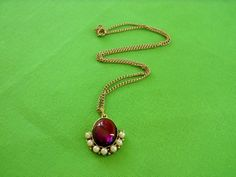 Purple Cabochon and simulated pearl necklace by LaylaBaylaJewelry