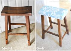 Upholstered Bar Stools: I so want to do this. Eventually I want to do a cute DIY kitchen island and get two stools like this and cover the tops to make them super cute! Diy Bar Stools, Diy Stool, Kitchen Stools, Bar Stool Makeover, Furniture Makeover, Diy Furniture, Upcycled Furniture, Diy Sewing Table, Diy Table