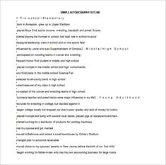 Sample Autobiography Outline  Outline Templates  Create A
