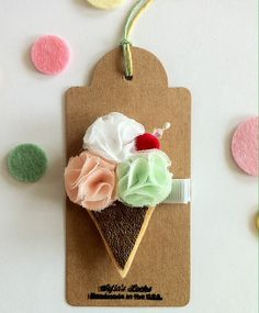 Pastel ice cream leather hair clip.  Puff flowers by SofiasLocks