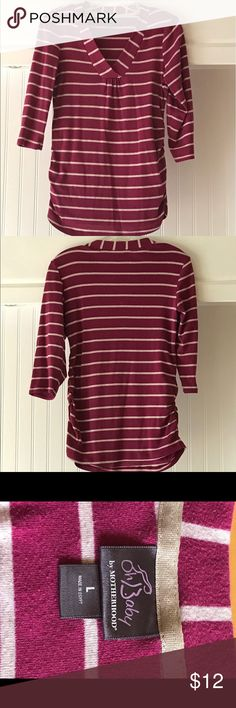 Plum and cream striped maternity shirt This three-quarter length maternity T-shirt is a very comfy but stylish top. It has a V-neck and is size Large. Elastic cinch at the waist makes plenty of room for your growing baby bump! Oh Baby by Motherhood Other