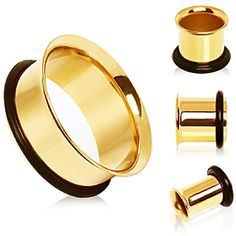 Gold Plated Single Flare Tunnel Plug with O-Ring
