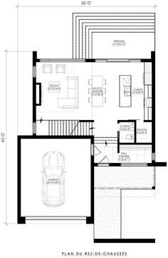 Plan de Maison Moderne Ë_142 | Leguë Architecture My Home Design, Modern House Design, Modern House Plans, Small House Plans, Architecture Drawing Plan, Small Villa, Architectural Floor Plans, Villa Plan, Arch Interior