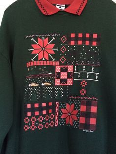 Vtg Ugly Christmas Sweater Party Sweatshirt Plaid Dots Reindeer | eBay