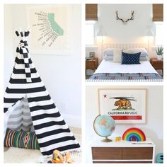Tee pee and mid century furniture in a kids room
