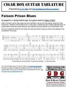 Folsom Prison Blues by Johnny Cash - Cigar Box Guitar Tablature
