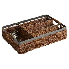 Store flatware in style with this woven abaca caddy, showcasing 4 open compartments and a metal handle.   Product: Flatware caddy...