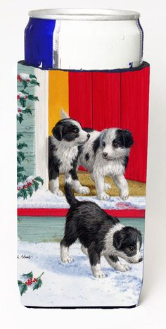 Christmas Border Collie Pups Ultra Beverage Insulators for slim cans ASA2078MUK