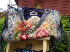 Great idea for old needlepoint pieces!                                                                                                                                                                                 More