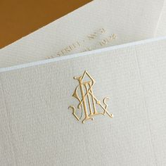 Marble Grey Empire Card with White Border and Gold Monogram.