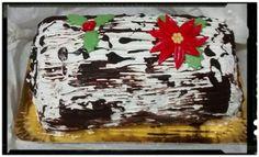 Tronco de Navidad de chocolate y nata.