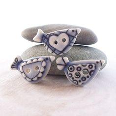 Bird Buttons Pale Blue Glazed Handmade Porcelain
