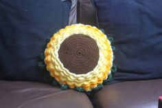 Crochet Sunflower Cushion by TheEclecticStitch on Etsy, Crochet Sunflower, Crochet Earrings, My Etsy Shop, Cushions, Trending Outfits, Unique Jewelry, Handmade Gifts, How To Make, Vintage